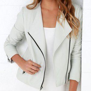 BB Dakota Rylan Light Grey Vegan Leather Jacket